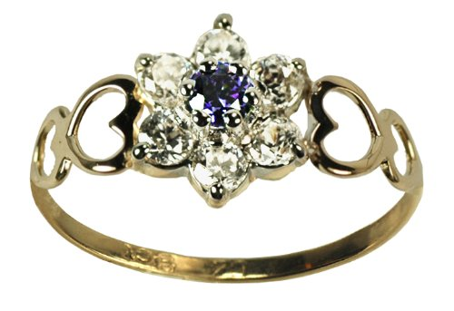 9ct Yellow Gold Created Sapphire & Cz September Birthstone Ring