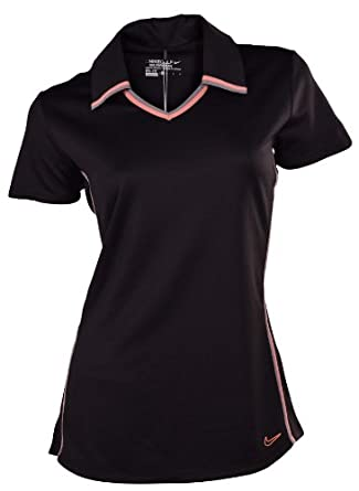 Nike Ladies Dri-Fit Contrast Graphic Golf Polo-Black by Nike