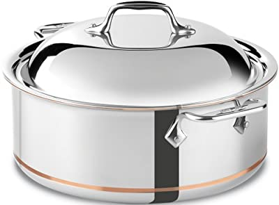 All-Clad 650618 SS Copper Core 5-Ply Bonded Dishwasher Safe Round Roaster/Cookware, 6-Quart, Silver