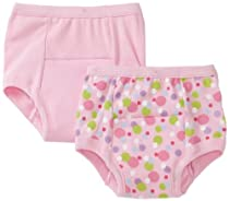 Green Sprouts Girls-baby Infant Training 2 Pack Underwear, Pink, 24 Months
