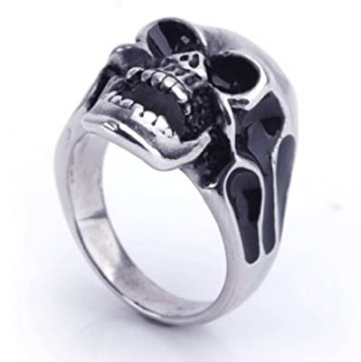 Silver Women 316l Stainless Steel Skull Head Enamel Patterns Chunky Rings Personality Fashion Jewelry + Random Color Box from JSDY