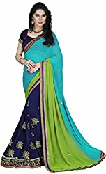 Lizel Fashion Georgette Saree with Blouse Piece (Blue)