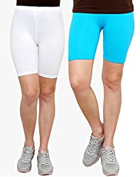Goodtry Women's Cycling Shorts Pack of 2 White-Turquouise Blue