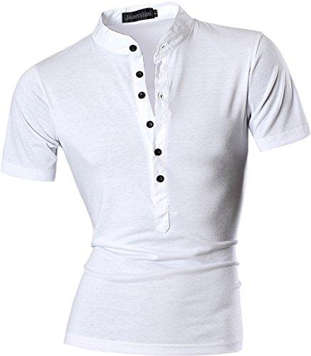 Jeansian Uomo Sport Estate V-Neck Manica Corta Tee Moda Men Casuale Slim Fashion T-Shirts D559