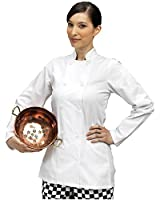 Ladies/Womens LONG Sleeve Fitted White Chefs Jacket - Catering/Kitchen/Restaurant