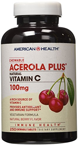 American Health Acerola Plus Natural Vitamin C Natural Berry -- 100 mg - 250 Chewables