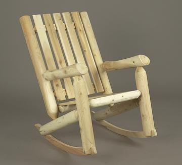 """37"""" Natural Cedar Log-Style Outdoor Wooden High-Back Rocking Chair front-734076"""