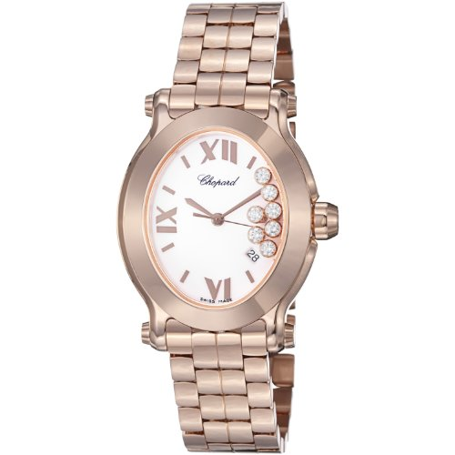 Chopard Happy Sport Oval Ladies White Diamond Dial Rose Gold Watch 275350-5002