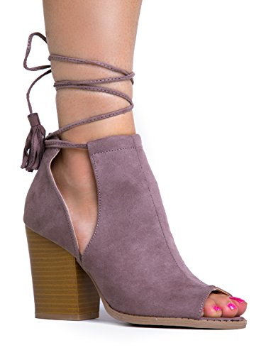 Ankle Lace Up Tie Peep Toe Side Cutout Ankle Boot Bootie