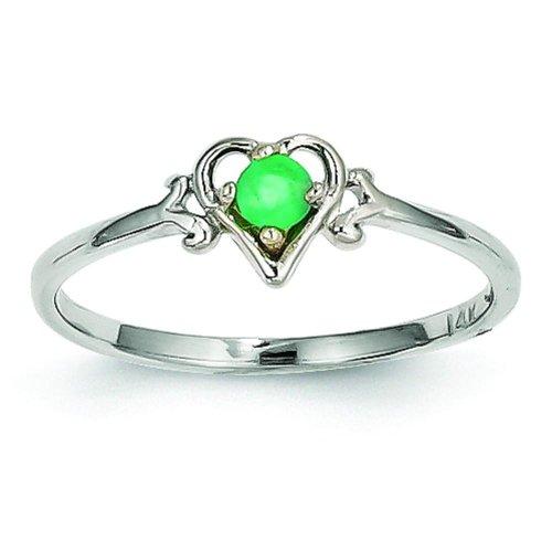 14K White Gold Emerald Heart Ring