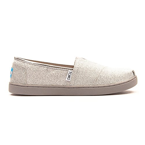 New TOMS Girl's Classic Slip On Silver Glimmer 6