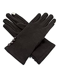 Dahlia Women's Touchscreen Gloves - Four Button Accent - Brown