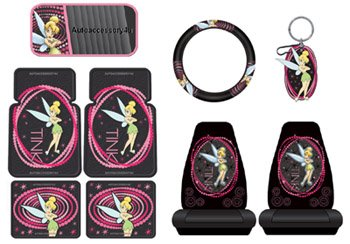Tinkerbell Optic Pink Dot 9pc Combo Set Front & Rear Floor Mats, Seat Covers, Steering Wheel Cover, CD Visor & Keychain