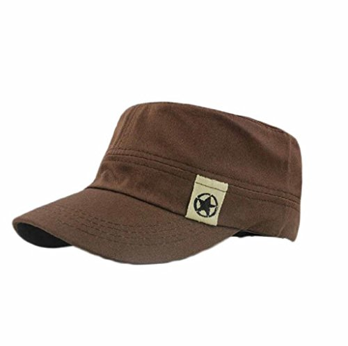 Unisex Cap, Gillberry Flat Roof Military Hat Cadet Patrol Bush Hat Baseball Cap (Coffee) (Cool Hat Racks compare prices)