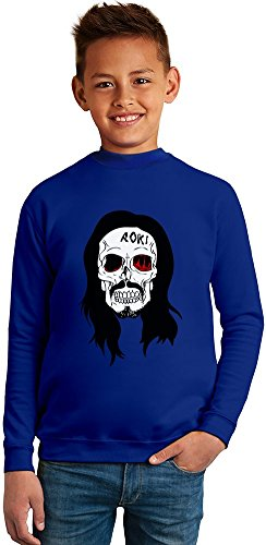 Steve Aoki Skull Superb Quality Boys Sweater by TRUE FANS APPAREL - 50% Cotton & 50% Polyester- Set-In Sleeves- Open End Yarn- Unisex for Boys and Girls 4-5 years