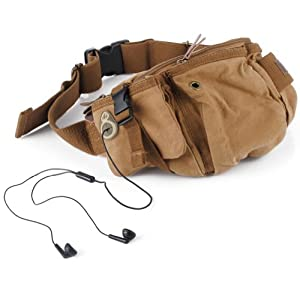 Kattee® Top Canvas British Style Chest  Waist Bag, with Invisible Headphone Hole by Kattee