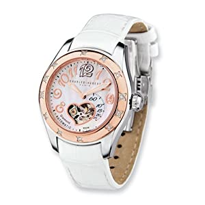 Rose Ip-pltd Stainless Steel Diamond Auto Watch by Charles Hubert Paris Watches, Best Quality Free Gift Box Satisfaction Guaranteed
