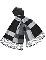 Reversible Black Gray White Rectangle Stripes Rayon Cashmere-Feel Long Scarf