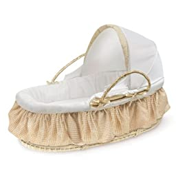 Badger Basket Beige Gingham Wood Fabric Polyester Canopy Natural Moses Basket For Baby Girls and Boys