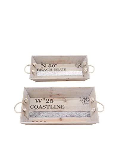 Set of 2 Nautical Wood Trays