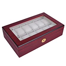 """buy Luxury Design Rosewood Matte Stain Wooden Glass Top 10 Watch Display Case 13""""X8"""" Jewelry Box Gold Accents"""