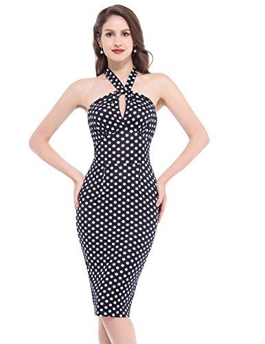 Belle Poque Retro Dress -  Vestito  - stile impero - Senza maniche  - Donna NavyWhite XL