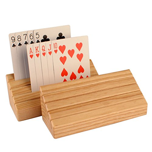 Solid-Ash-Wood-Playing-Card-Holder-Rack-Organizer-Set-of-2