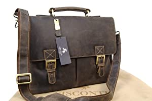 Visconti Hunter Leather Briefcase Messenger Bag A4 - 18716 Berlin - Oil Brown