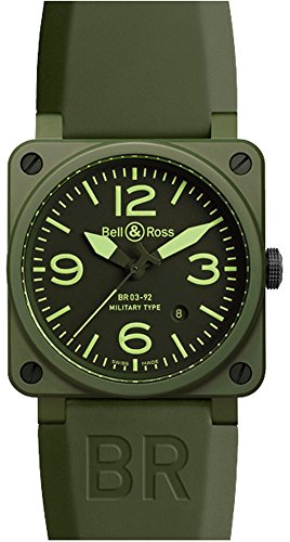 Bell-Ross-Mens-BR-03-92-MILITARY-CERAMIC-Aviation-Black-Dial-and-Green-Strap-Watch-Watch