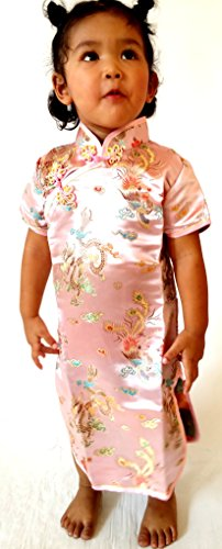 Little Girls' Chinese Geisha Qipao Dress With Dragon Costume And Cosplay 4 Pink