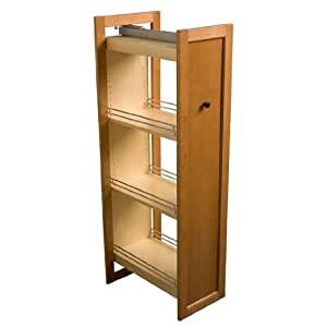 Omega national tall pull out wood pantry 14 1 for Kitchen cabinets amazon