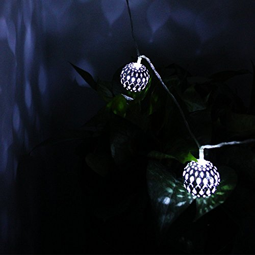 Metal Ball String Lights : TORCHSTAR Battery Operated Moroccan Globe LED String Lights 20 LED 10ft Metal Ball Fairy ...