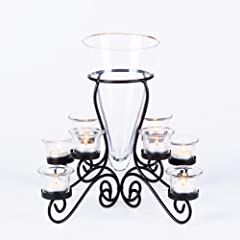 10 Piece Candelabra - Wrought Iron Tealight Holder with Vase