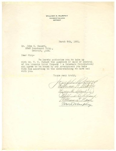 Henry M. Leland - Document Signed 03/08/1921 Co-Signed By: Wilfred C. Leland, William T Nash, William H. Murphy