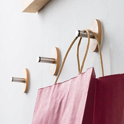 bamboo base stainless steel self adhesive stick wall hooks hangers 6 hook ebay. Black Bedroom Furniture Sets. Home Design Ideas