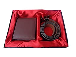 Good Life Stuff Leather Brown Combo Gift Set of Wallet and Belt (GLSGCM-C008)