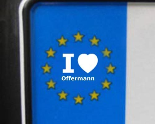 4 Aufkleber - WEI&#223; - I love Offermann - Nummernschild, Spiegel, Handy Sticker