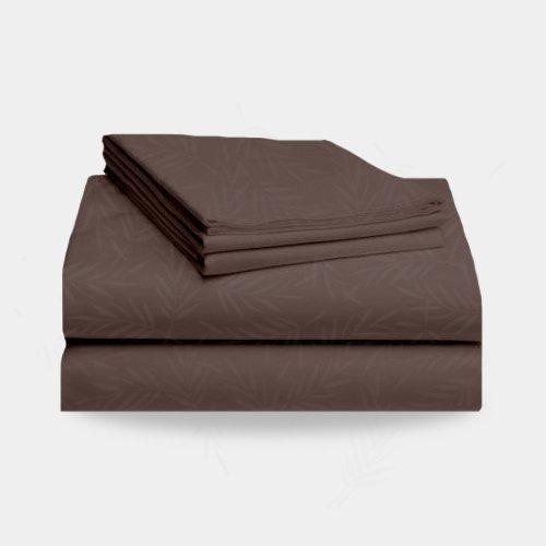 1800 Split California King Bed Sheet Set Leaf Pattern (Chocolate Brown) front-750578
