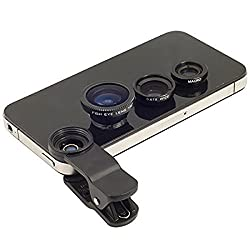 Powerpak 3in1 Universal 180° Fisheye Lens + Wide Angle + Macro Lens Mobile Clip Camera Photo Kit For Apple iPhone 6 Plus/6/5/5S/5C/4/4S, iPad Air 2/1, iPad 4/3/2, iPad Mini 3/2/1, Tablet PC, Laptops, Samsung Galaxy S5/S4/S3, Galaxy Note 4/3/2, Blackberry Bold Touch, Sony Xperia, Motorola Droid and Other Smart Phones