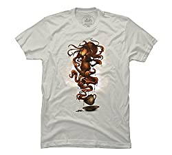 a cup of coffee Men's Medium Silver Graphic T Shirt - Design By Humans