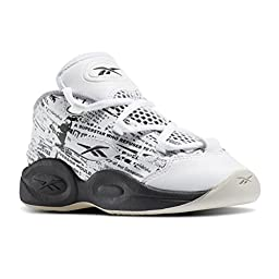 Reebok Question Mid Misunderstood Toddlers Casual Shoe 10 White-Coal-Stone-Tin Grey