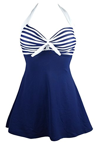 Cocoship White & Navy Blue Striped Vintage Sailor Pin Up Swimsuit One Piece Skirtini Cover Up Beachwear XXL(FBA)