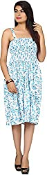JH Mart Women's Cocktail Dress (JHDRS1017_Wht-SkyBlu_XL, White and Sky Blue, XL)