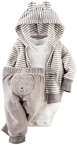 Carter's Baby Boys' 3 Piece Terry Cardigan Set (Baby) – Gray – 3M