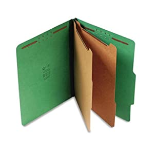 S J Paper S60401 S J Paper Expanding Classification Folder, Ltr, 6-Section, Emerald Green, 15/Box