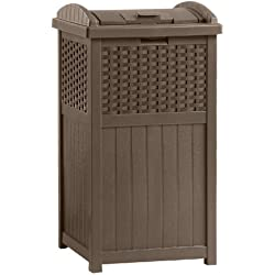 Suncast Resin Wicker Trash Hideaway (Dark Brown)