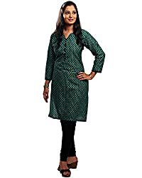 Kala Nidhi Women's Cotton Printed Kurti (Green_Large_40)