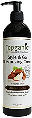 Topganic Style and Go Moisturizing Cream with Brazil Nut Oil, 13.53 Fluid Ounce