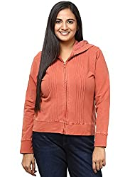 GRAIN Red Regular Collar Cotton Solid Jackets for Women