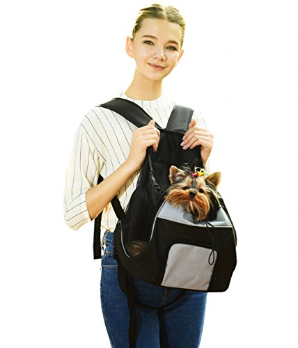 Jespet Soft Comfortable Travel Front Pet Carrier Backpack Puppy Dogs Cats Adjustable Carrier Bag, Black
